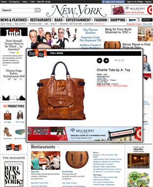 NYMag.com, Fashion homepage, and Shop-a-matic
